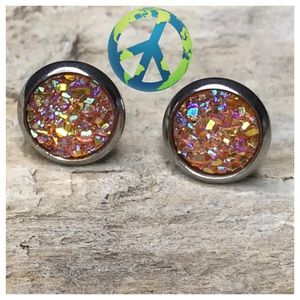 2/$12 Stainless Steel Round Druzy Earrings